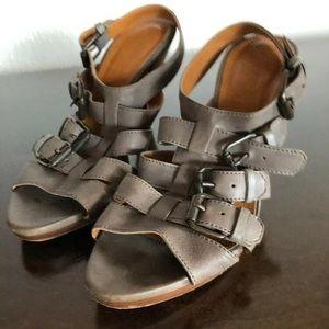 J Crew High Heel 6.5 Grey Leather Buckle Sandals